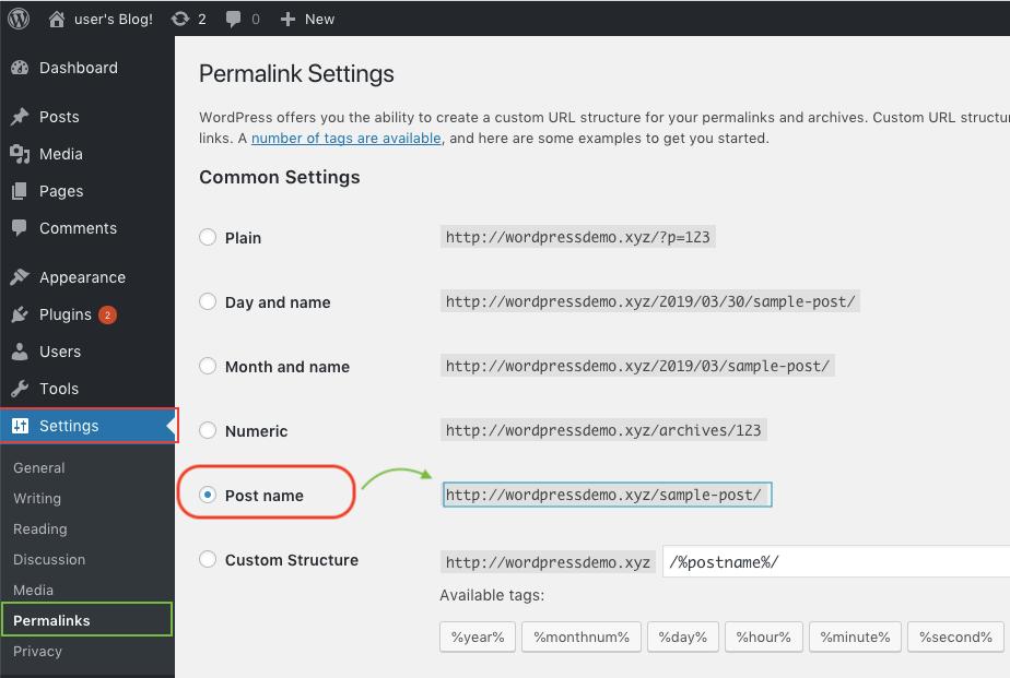 Permalink settings for domain on WordPress