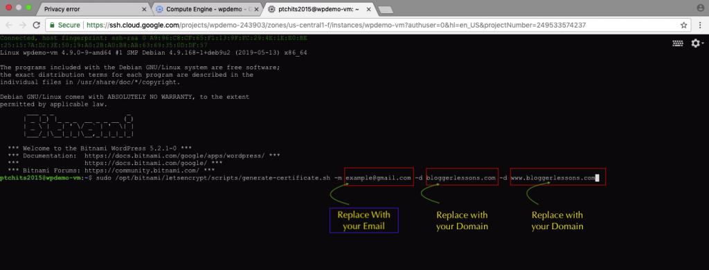 SSL Certificate Command for Bitnami WordPress Site