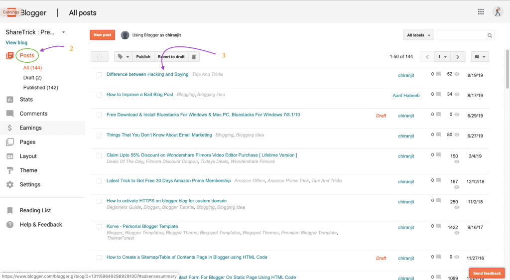 Blogger Dashboard - Posts Page Section