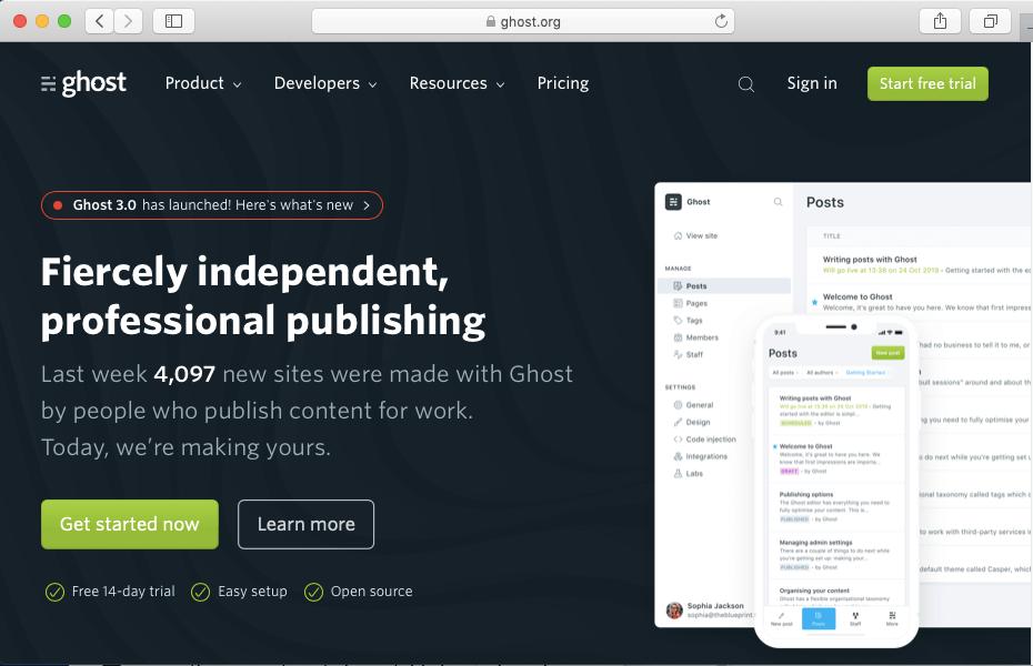 Ghost - A modern open source blogging platform