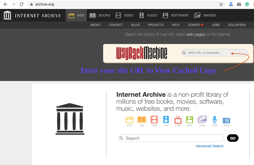 View Cached Web Page on Wayback Machine on archive.org